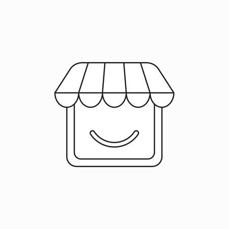 Vector icon concept of shop with smiling mouth. Black outlines.