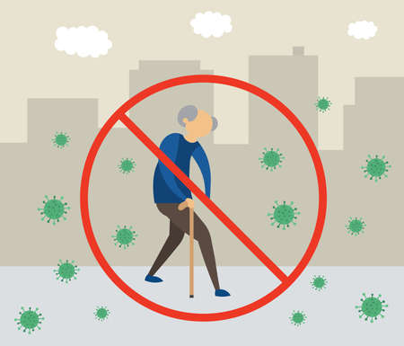 Illustration pour Old man has gone out, but because of the corona virus, this is very dangerous and forbidden flat vector illustration. - image libre de droit