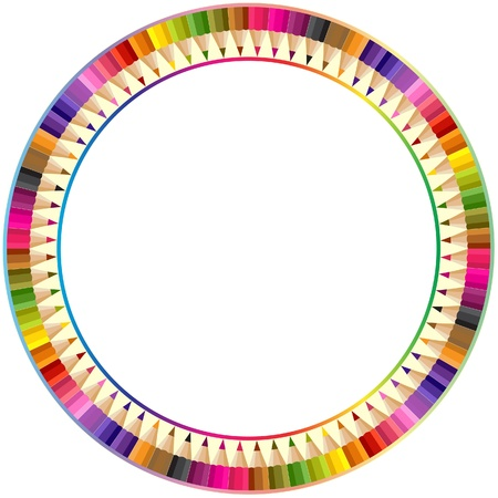Round frame made from color pencils