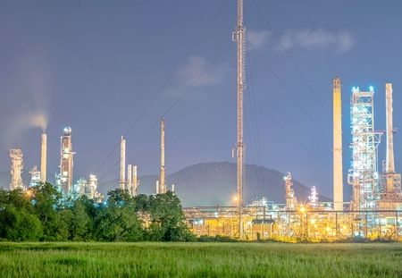 Oil refinery industry refinery at twilight - factory