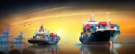 Photo pour Logistics and transportation of International Container Cargo ship and cargo plane in the ocean at twilight sky, Freight Transportation, Shipping - image libre de droit
