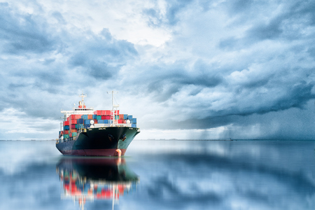 Photo pour Logistics and transportation of International Container Cargo ship in the ocean, Freight Transportation, Shipping - image libre de droit