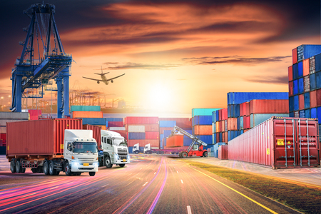 Photo pour Logistics import export background and transport industry of Container Cargo freight ship and Cargo plane at sunset sky - image libre de droit