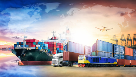 Photo pour Global business logistics import export background and container cargo transport concept - image libre de droit