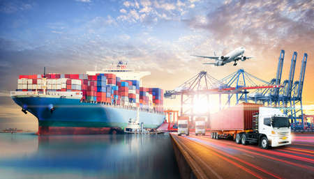 Photo for Global business logistics import export background and container cargo freight ship transport concept - Royalty Free Image