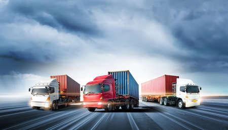 Photo for Truck transport with red container on highway road at sunset, motion blur effect, logistics import export background and cargo transport industry concept - Royalty Free Image