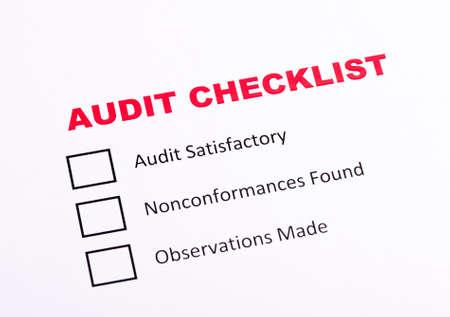 Audit checklist evaluation