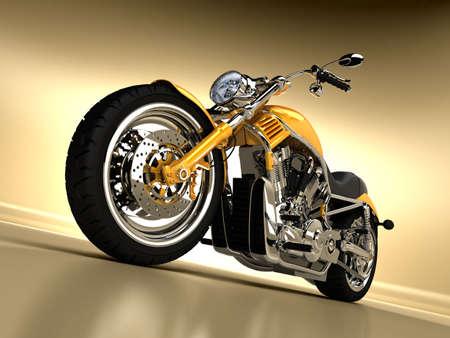 A beautiful studio shot of a yellow Harley Davidson