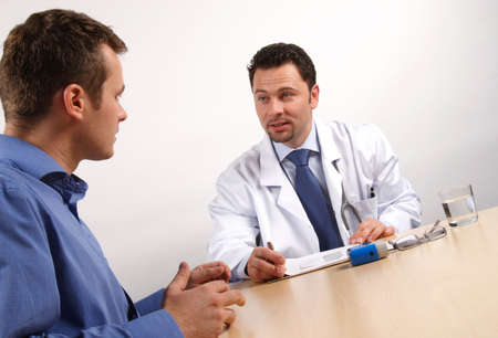 male patient and doctor talking