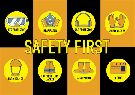 health and safety warning signs. vector illustration