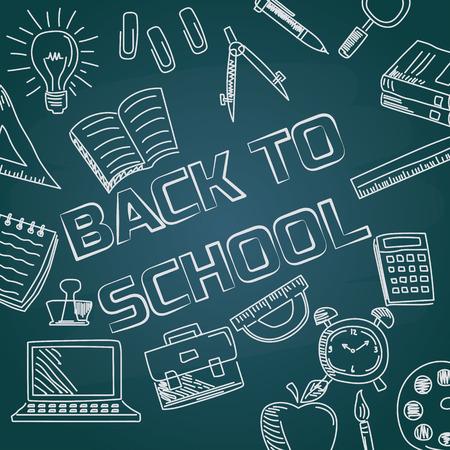 Illustration pour back to school with chalk font on blackboard - image libre de droit