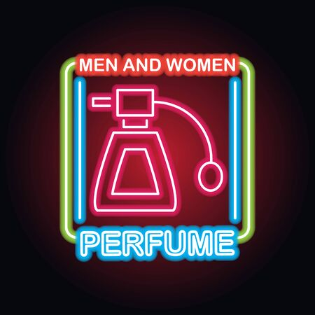 Illustration pour men and women perfume fragrance with neon sign effect, vector illustration - image libre de droit
