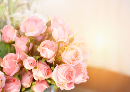 Photo for pink rose flower / soft color pink roses flower bouquet on table blur background - Royalty Free Image