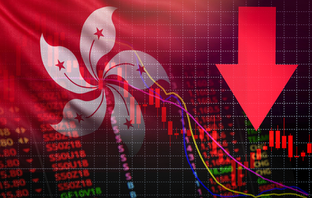 Photo pour hong kong stock exchange crisis red price arrow down chart fall / hangseng stock exchange market analysis forex graph business money crisis moving down inflation deflation with flag of hong kong - image libre de droit