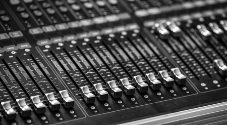 Photo for Professional audio mix sound control panel console / Sound technician and lights equipment - Royalty Free Image