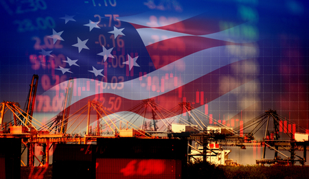 Photo pour USA America trade war economy conflict tax business finance / united states stock market exchange graph chart money crisis raised taxes on industry container ship in export import logistics - image libre de droit