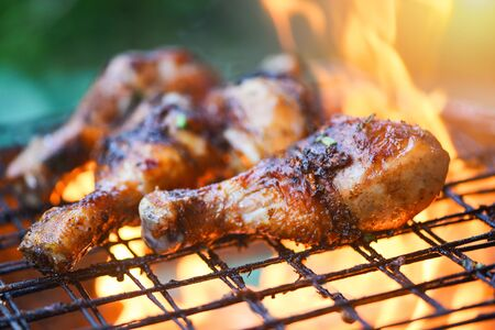Photo pour Grilled chicken legs barbecue with herbs and spices / Tasty chicken legs on the grill with fire flames marinated with ingredients cooking picnic outdoors - image libre de droit