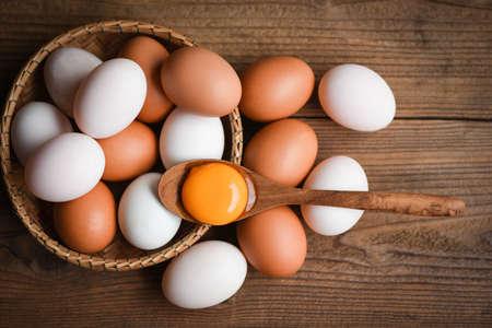 Foto für Chicken eggs and duck eggs collect from farm products natural in a basket healthy eating concept / Fresh broken egg yolk - Lizenzfreies Bild