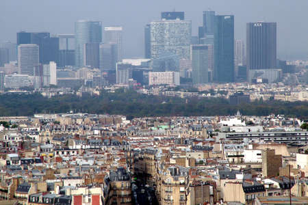 View from the Eiffel tower of Paris, bois de Boulogne and Le Defence