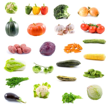 Big collection of vegetables on a white background