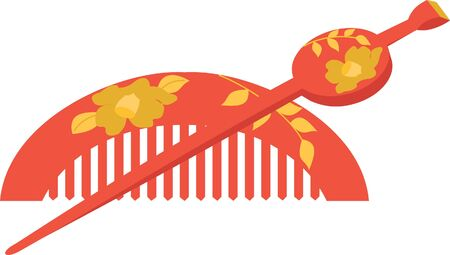 vector illustration of the Japanese comb and hairpin