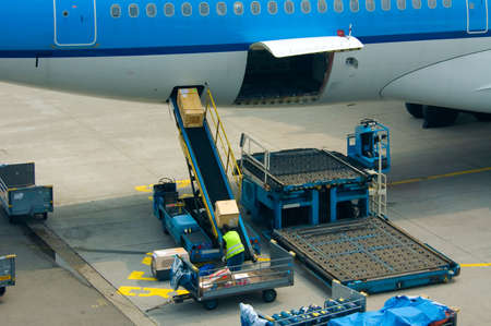 Photo for loading cargo on a big plane - Royalty Free Image
