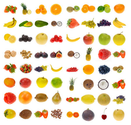 Photo pour big collection of fruit and nuts, isolated on a white background, all pieces individually photographed in studio and no shade so its easy to select. - image libre de droit