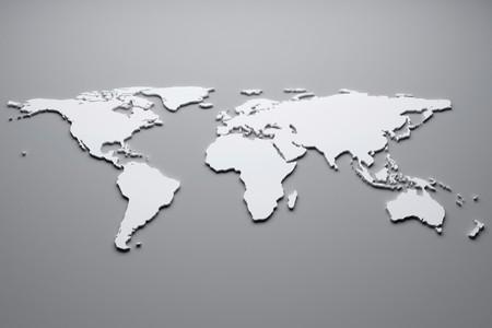 White world map. 3d illustration.