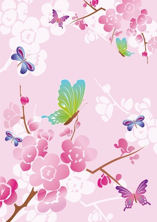 Vector floral background with colored butterflies