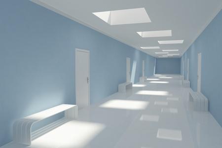 3D Modern long corridor in hospital