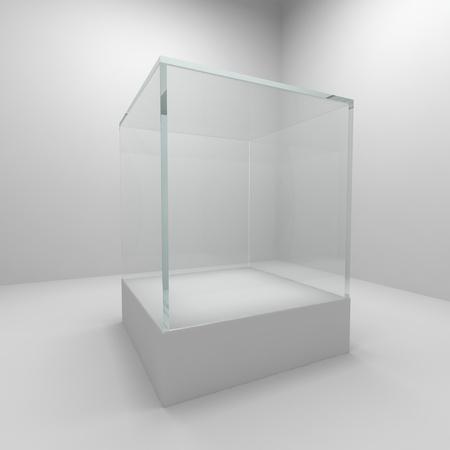 Empty glass showcase in room
