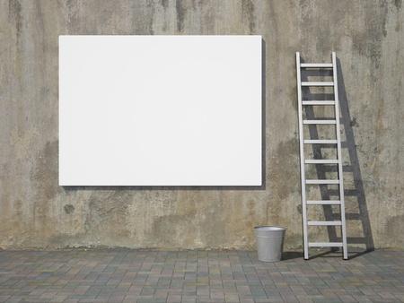 Blank advertising billboard on dirty grunge wall