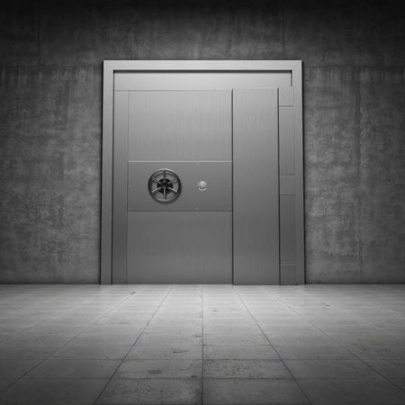Photo pour Bank vault with metal door - image libre de droit