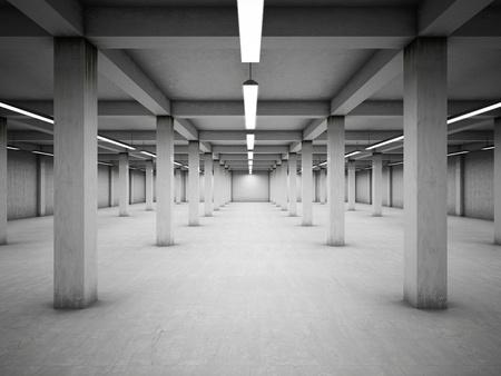 Empty underground parking area