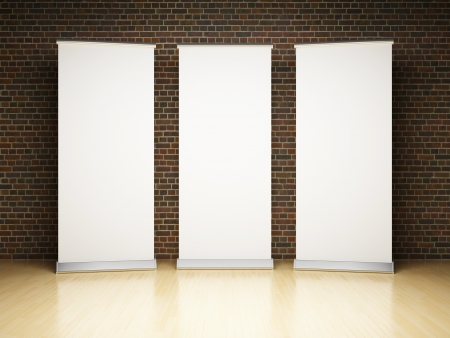 Photo pour Blank roll up banner in studio on brick wall - image libre de droit