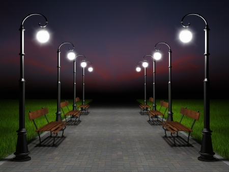 A romantic night scene. Illuminated park alley with old fashioned street light and bench