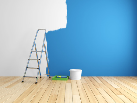 Photo pour Repair and painting of walls in room. 3d rendering. - image libre de droit