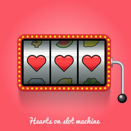 Hearts on slot machine. Conceptual illustration