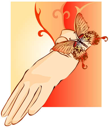 Vector illustration of beige female glove decorated butterfly