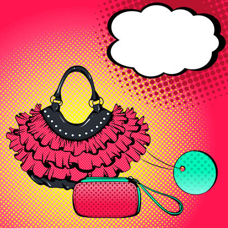 Illustration for Vector bright colored background in Pop Art style. Illustration with women's handbags and speech bubble. Retro comic style - Royalty Free Image