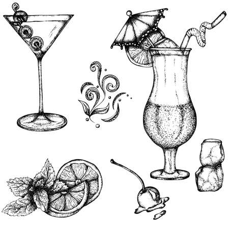 Illustration pour Set with alcoholic drinks: martinis and exotic cocktails decorated with an umbrella. Vector hand drawn illustration. Monochrome drawing isolated on white background - image libre de droit