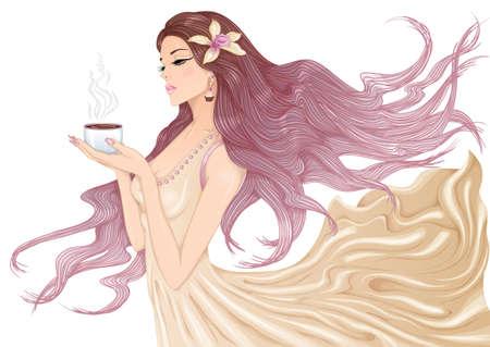 Illustration pour Girl with cup of coffee - image libre de droit