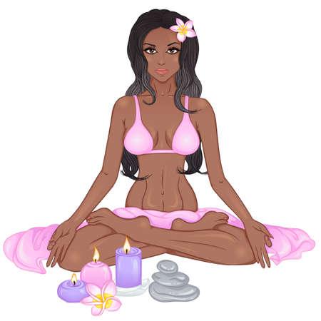 Illustration pour Yoga girl illustration - image libre de droit