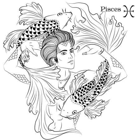 Illustration pour Pisces line art - image libre de droit