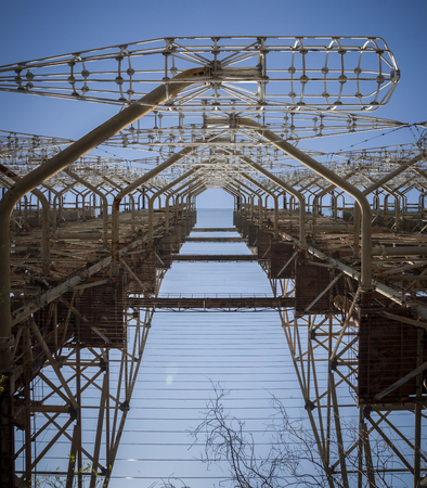 Duga-3 was a Soviet early warning radar for anti-ballistic missile system located near Chernobyl. Now it is abandoned.