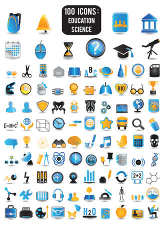 Illustration pour 100 detailed icons of education and science - vector icons - image libre de droit