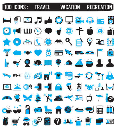 100 icons for travel vacation recreation - vector icon