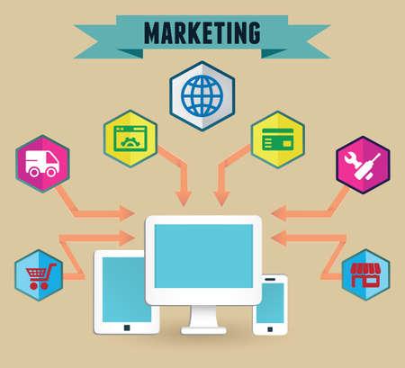 Concept of media marketing - vector illustration