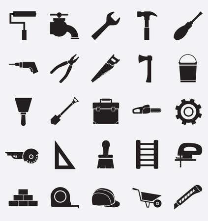 Illustration pour Set of construction tools icons   - image libre de droit