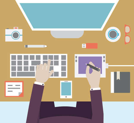 Workplace of designer with devices for work  Flat style - vector illustration